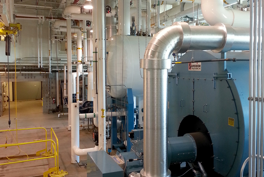 Industrial equipment installation with mechanical ductwork
